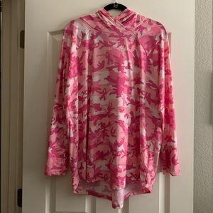 LuLaRoe Pink Camo Hoodie Breast Cancer Awareness